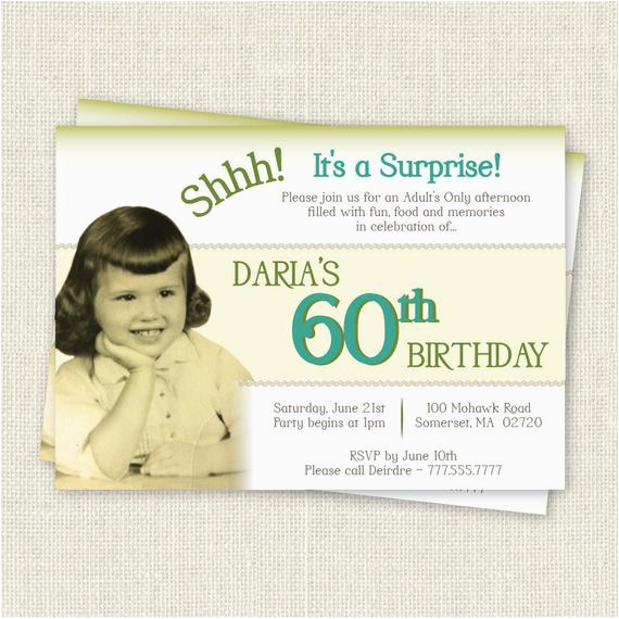 Surprise 60th Birthday Party Invitation Wording Digital Printable File