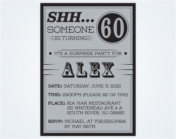 Surprise 60th Birthday Party Invitations Template Free Printable