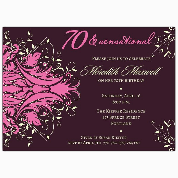 Surprise 70th Birthday Invitations Templates Andromeda Pink Paperstyle