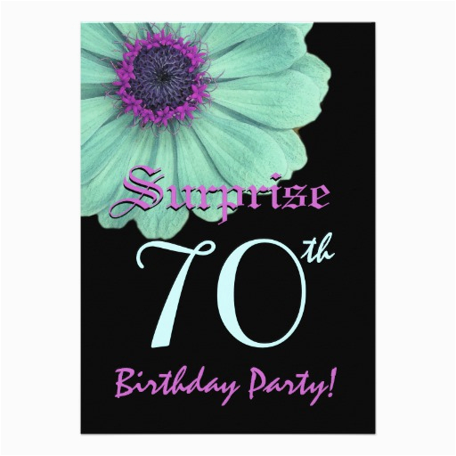 Surprise 70th Birthday Invitations Templates Template Green Purple Daisy Custom