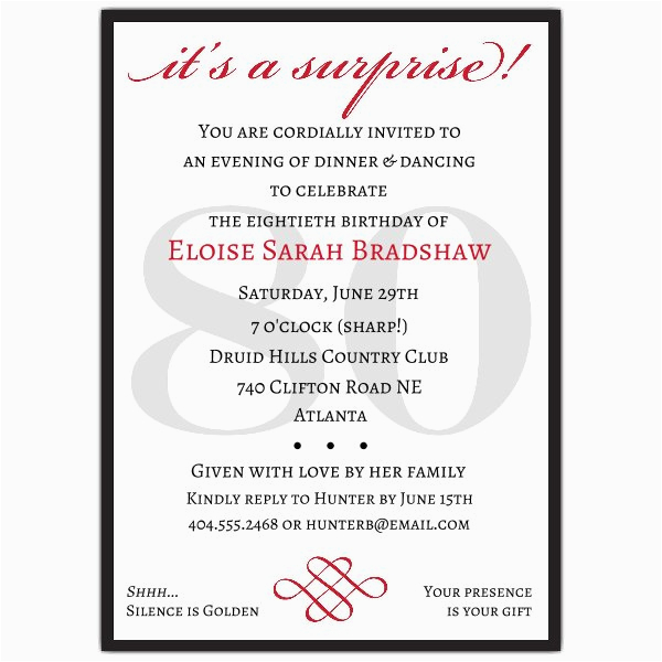 Surprise 80th Birthday Party Invitation Wording Classic Red Invitations Paperstyle