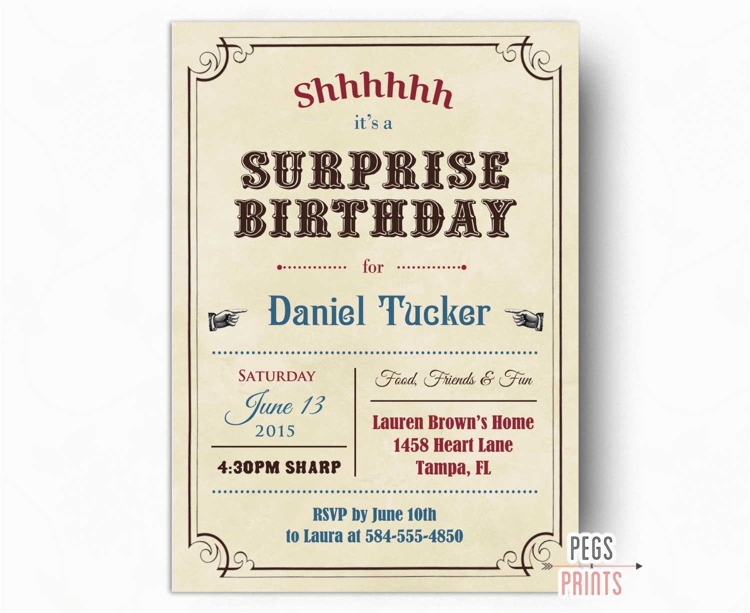 Surprise Birthday Invitation Wording for Adults Adult Surprise Birthday Invites Vintage Surprise Party