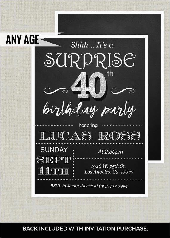 Surprise Birthday Invitation Wording For Adults 40th Adult