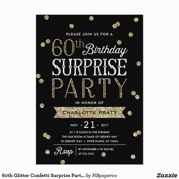 Surprise Birthday Party Invitation Wording For Adults 60th Glitter Confetti Adult