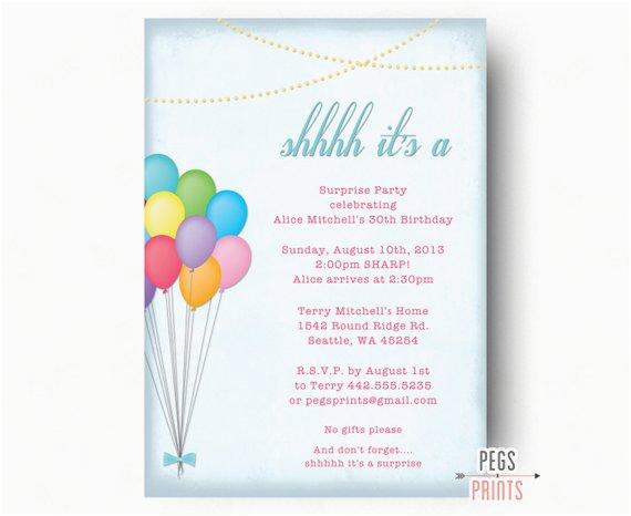 adult surprise birthday invitation balloon bunch