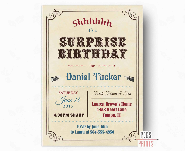 adult surprise birthday invites vintage