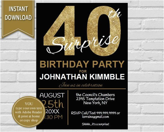 40th surprise party invitation for men