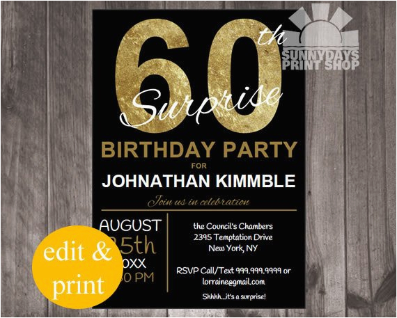 60th surprise birthday invitation instant download