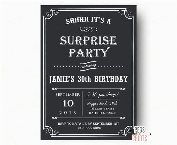 Surprise Birthday Party Invitations For Men Adult Invitation Black