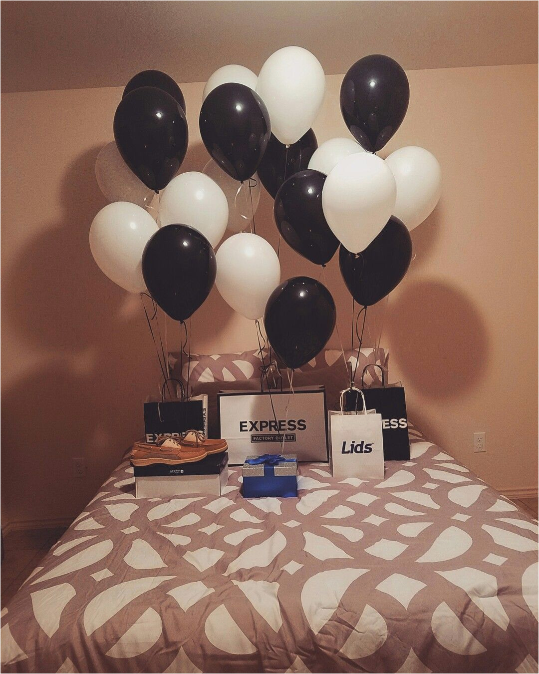 bedroom surprise for him balloons gift husbandgift