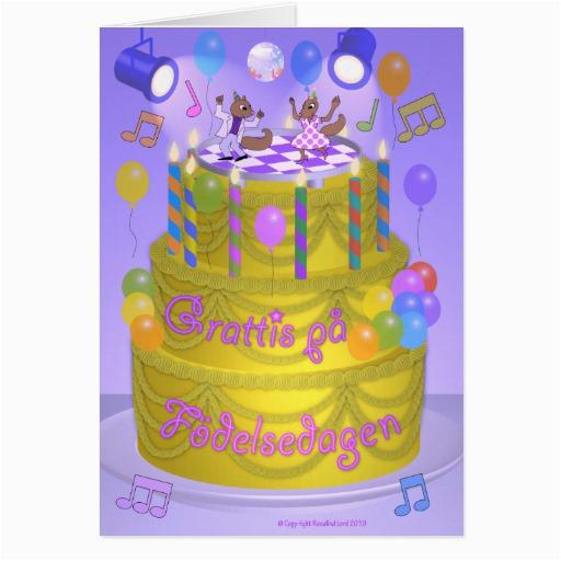 quot happy birthday quot cake swedish greeting card zazzle