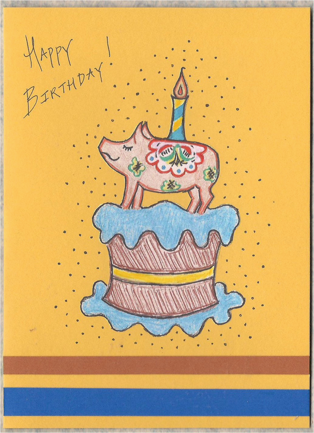 Swedish Birthday Card Swedish Pig Birthday Card Swedish Birthday Vintage Style
