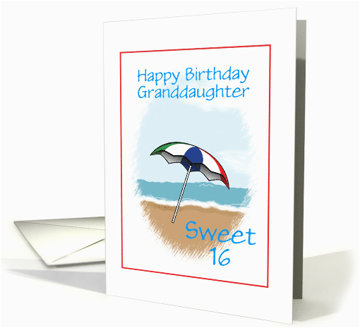 Sweet 16 Birthday Cards For Granddaughter Happy Custom Beach
