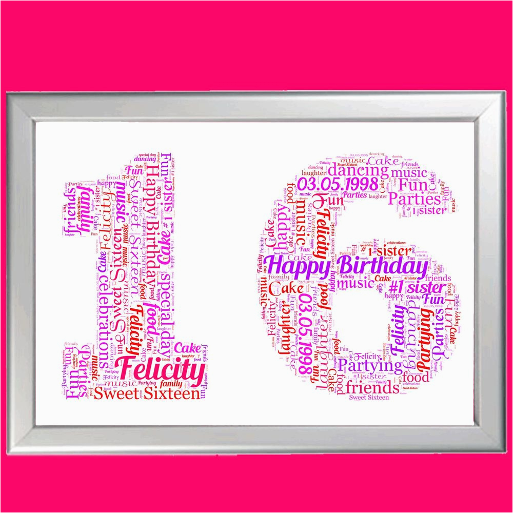 Sweet 16 Birthday Gifts For Her Personalised Gift 16th Sixteen Sixteenth