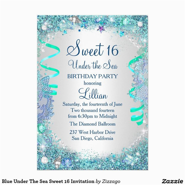 blue sweet sixteen invitations