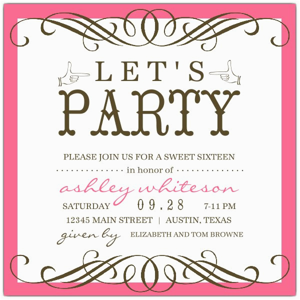 Sweet 16 Birthday Invitation Wording Any Color Seattle Invitations Paperstyle