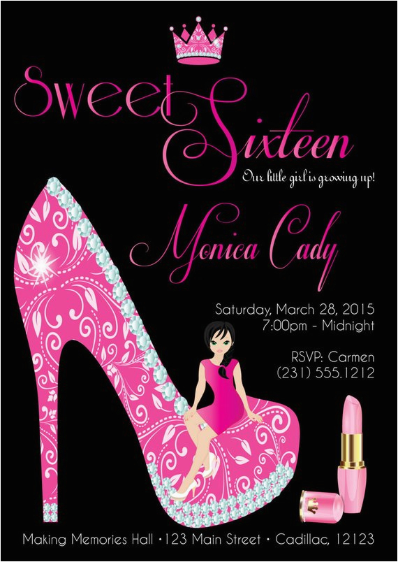 sweet sixteen birthday invitation sweet