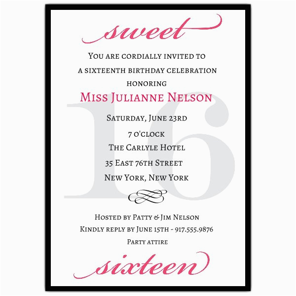 Sweet Sixteen Birthday Invitation Wording Classic Pink Sweet 16 Birthday Invitations Paperstyle