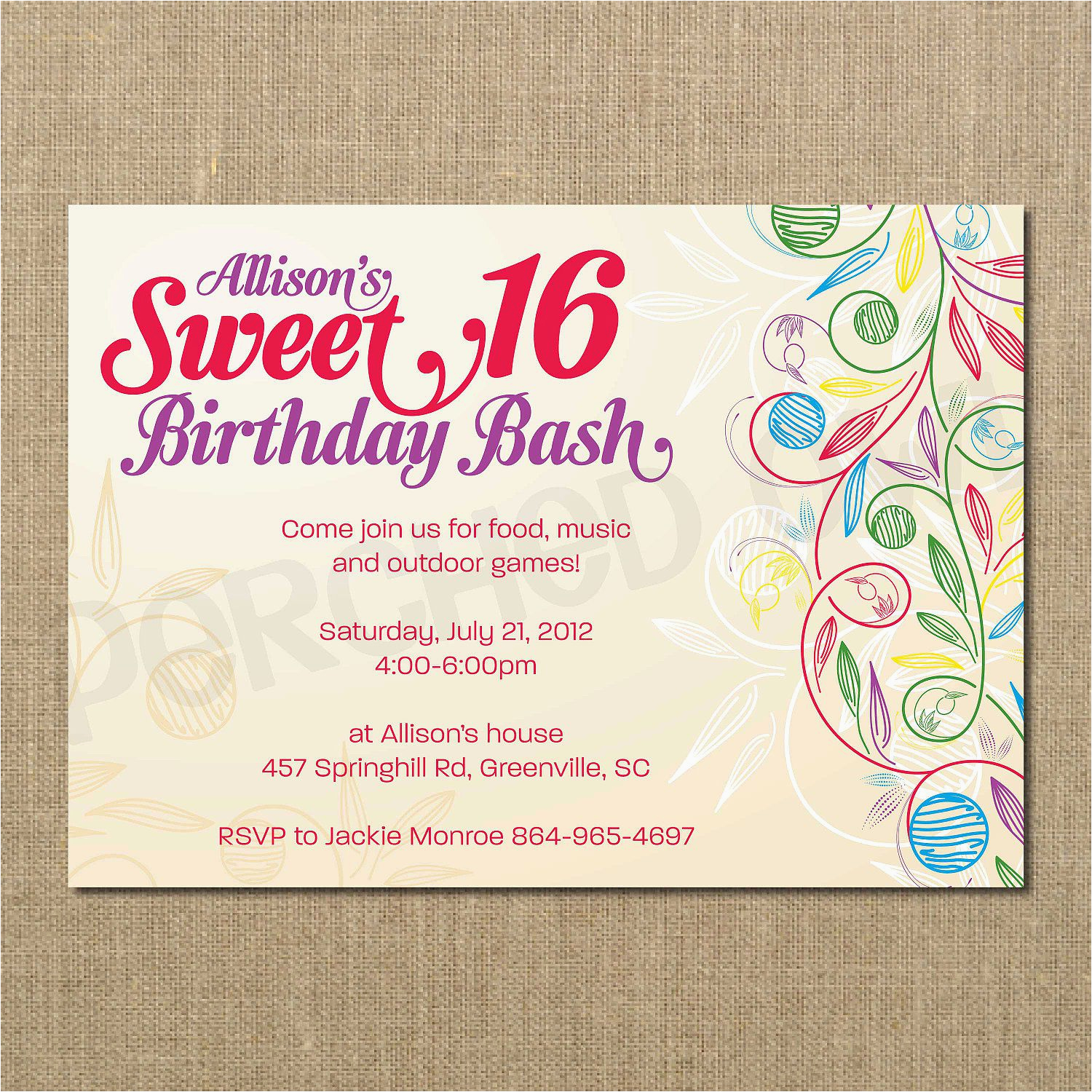 Sweet Sixteen Birthday Invitation Wording 16 Invitations Templates Free