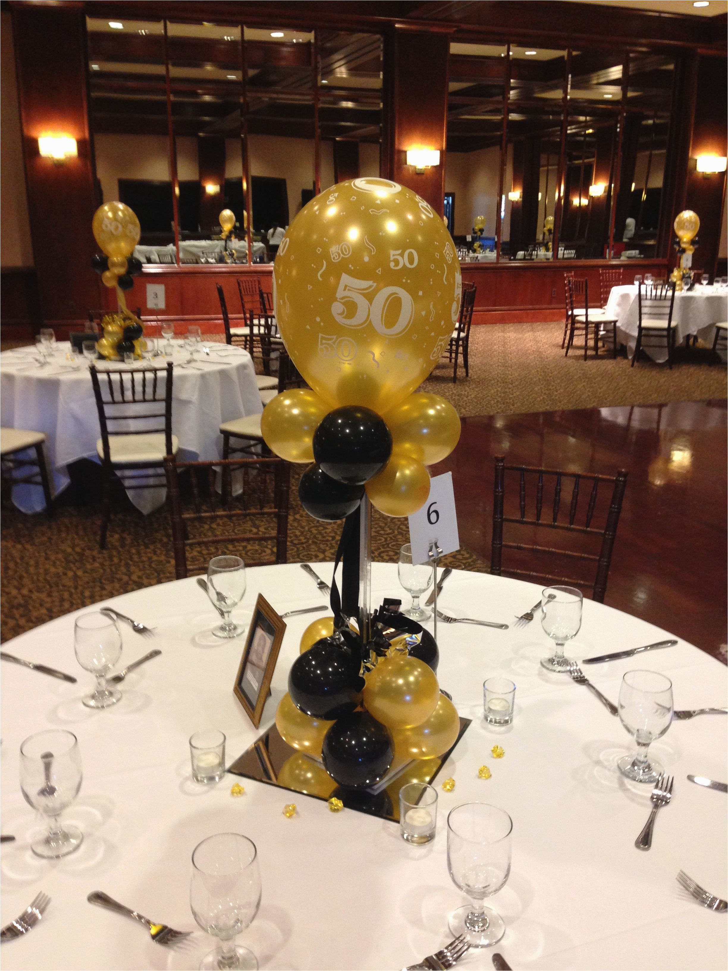 Table Decorations for 50th Birthday Party Black and Gold Balloon Centerpieces for A 50th Birthday or