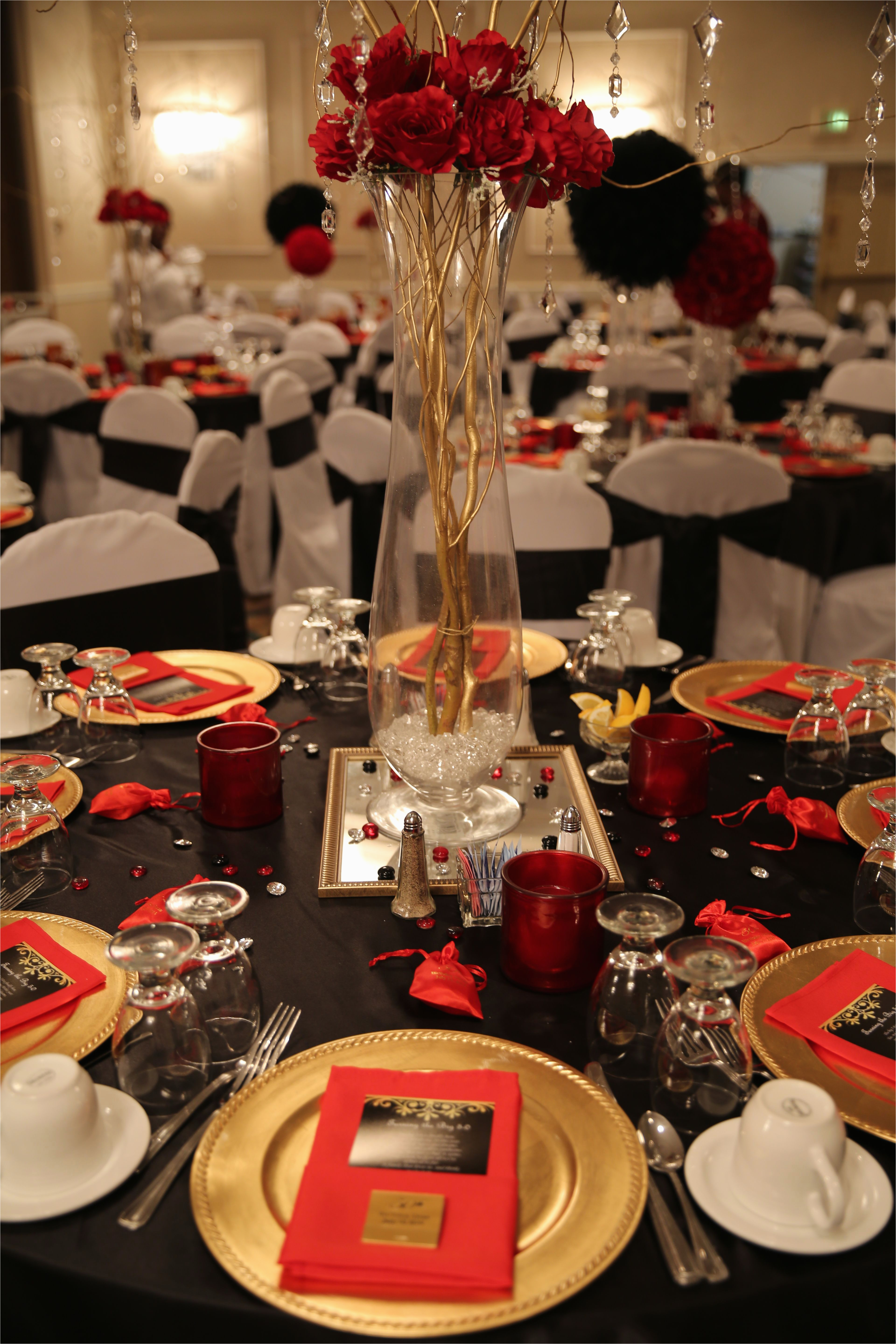 Table Decorations for 50th Birthday Party Red Black and Gold Table Decorations for 50th Birthday