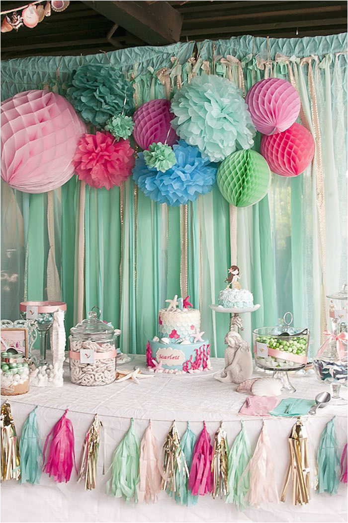 Table Decorations Ideas for Birthday Parties Kara 39 S Party Ideas Littlest Mermaid 1st Birthday Party