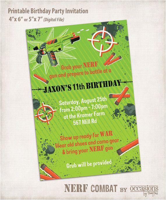 Target Photo Birthday Invitations Printable Nerf Invitation Digital By