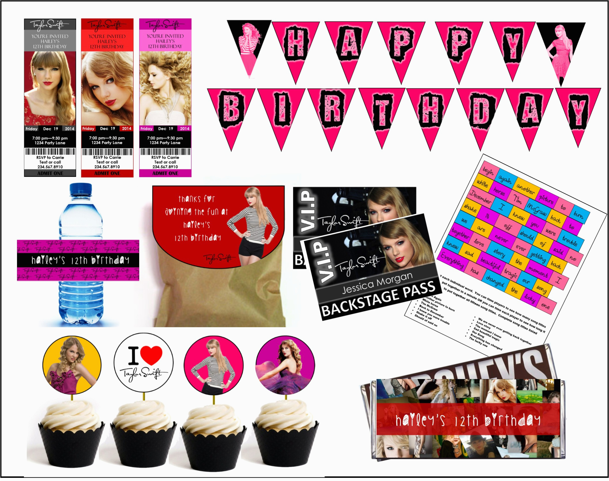 Taylor Swift Birthday Decorations Diy Taylor Swift Party Games Printables