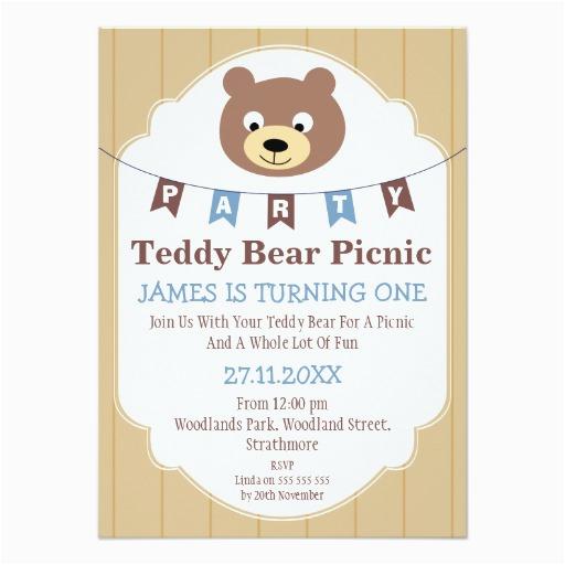 boys teddy bear picnic 1st birthday invitation 161674123218447425
