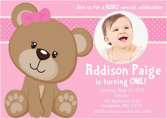 Teddy Bear Invitations for 1st Birthday Pink Teddy Bear Birthday Invitations Bagvania Free
