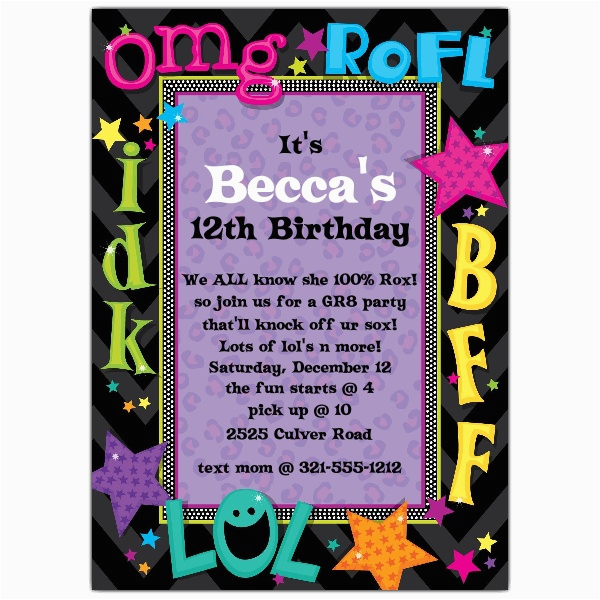teen talk birthday party invitations p 643 57 1181