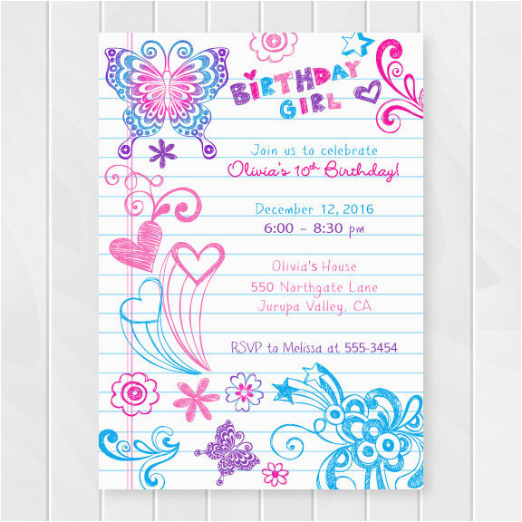 Notebook Doodles Tween Birthday Invitation Girl Invitations Teenage Party Invites Sweet Sixteen Printable