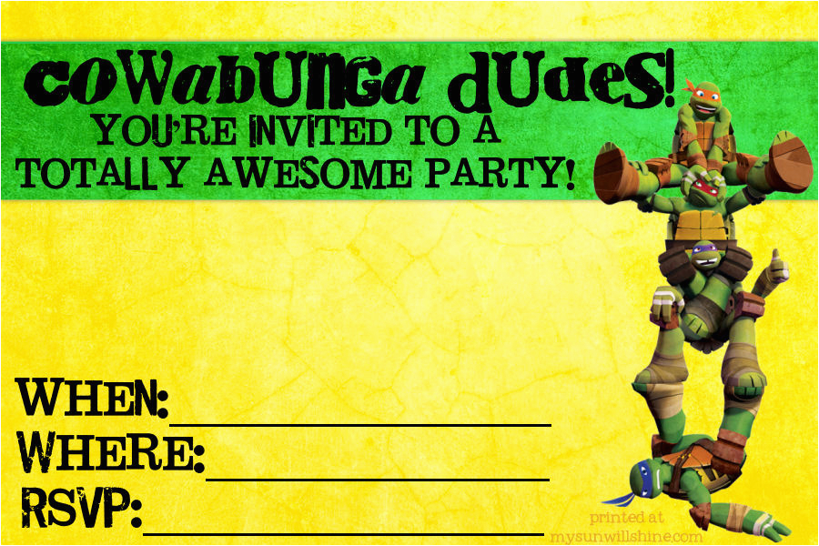 teenage mutant ninja turtle party invitations birthday designs