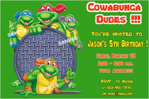 teenage mutant ninja turtles birthday invitation free