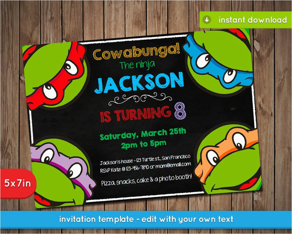 photograph about Ninja Turtles Birthday Invitations Printable named Teenage Mutant Ninja Turtles Birthday Invitations Teenage Mutant