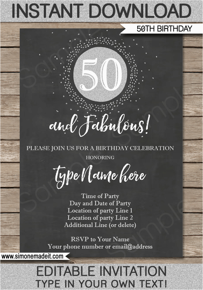 Template For 50th Birthday Invitations Free Printable Chalkboard Invitation Silver Glitter