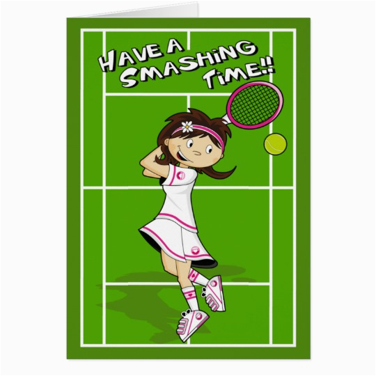 tennis girl birthday card 137096738303854296