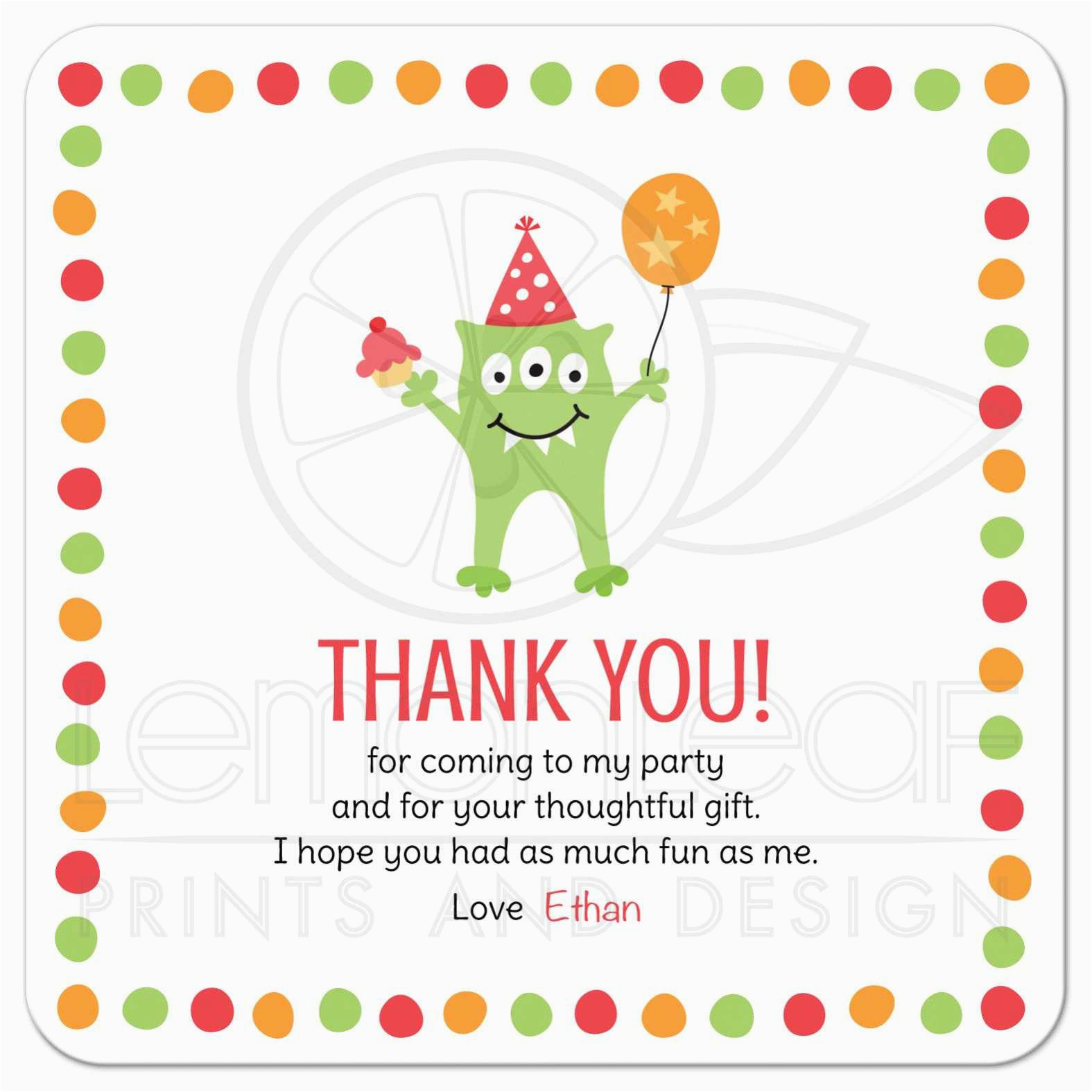 monster with three eyes balloon and party hat birthday party thank you card with personalized text