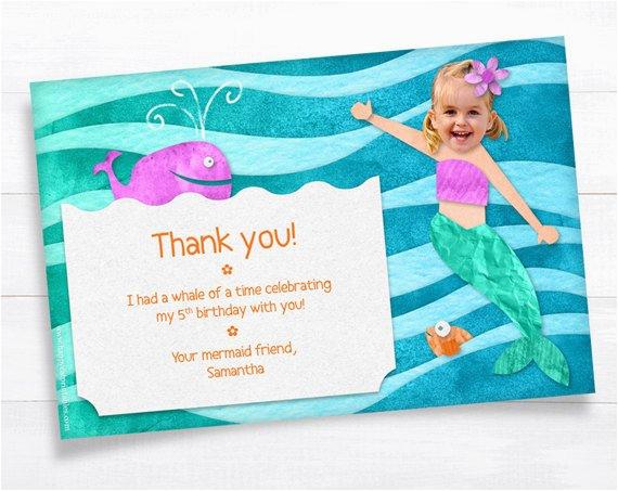 mermaid thank you card girl birthday
