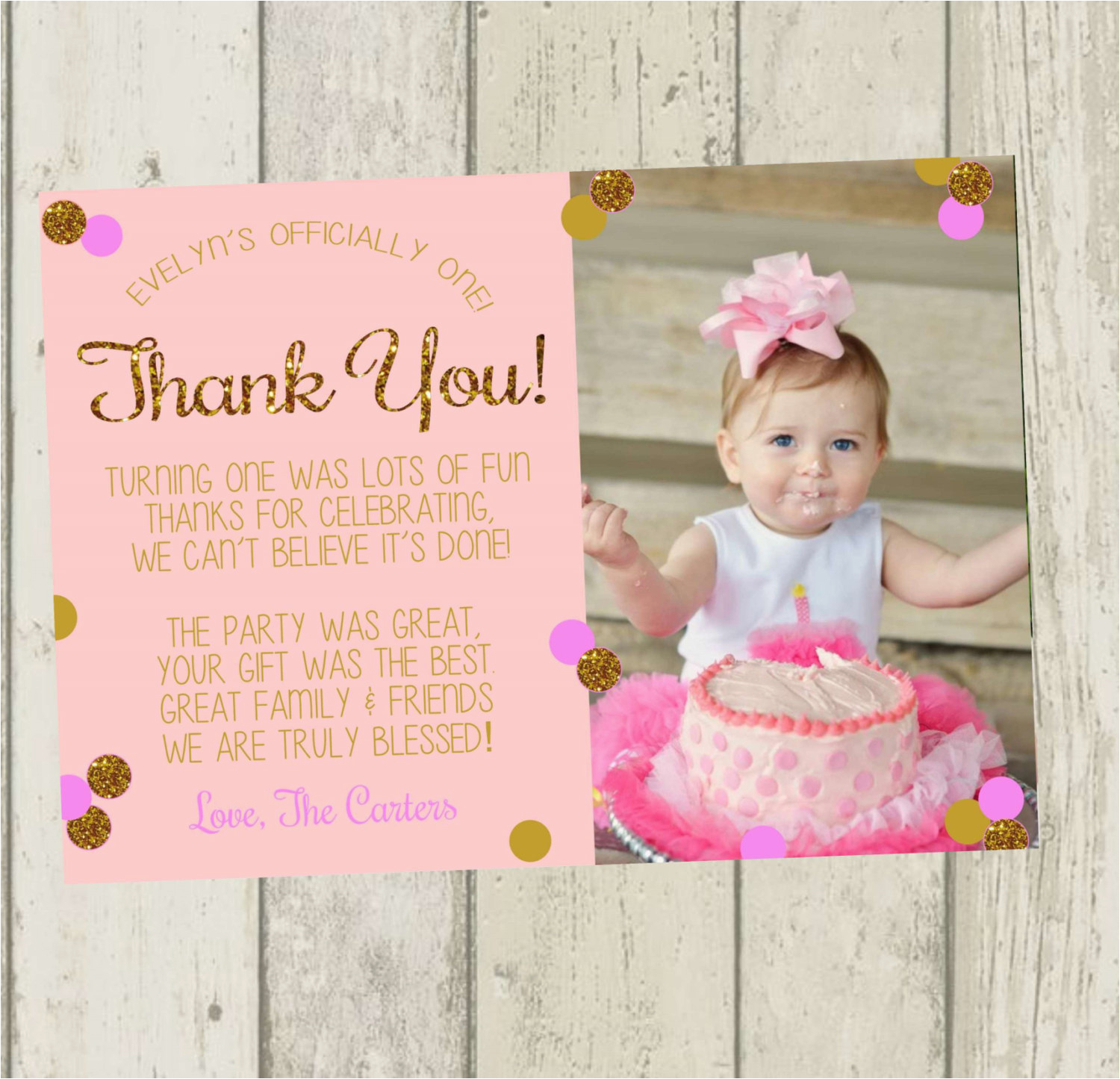 first birthday thank you card pink gold