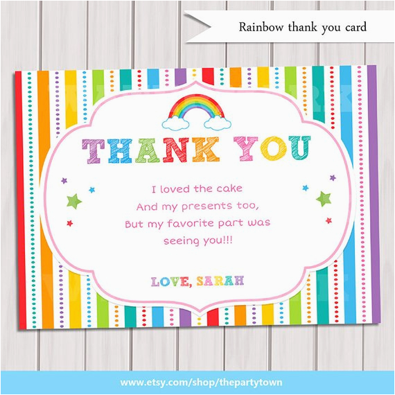 items similar to rainbow thank you card rainbow
