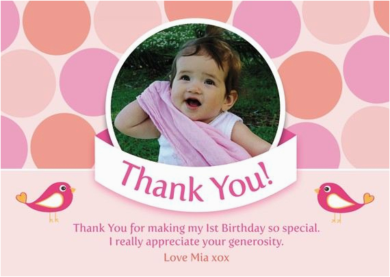 printable birthday party thank you card polka dot coco