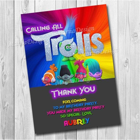 trolls gracias tarjeta trolls fiesta de cumpleanos parte