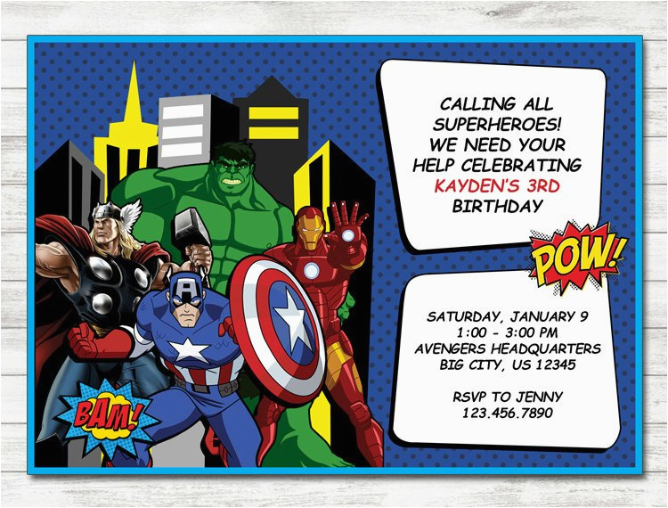 avengers invitation avengers party