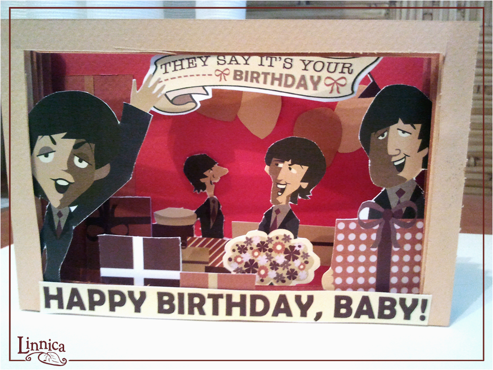 linnica a 3d beatles birthday card