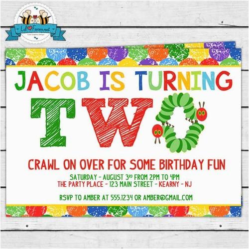 the very hungry caterpillar birthday party invitation second birthday