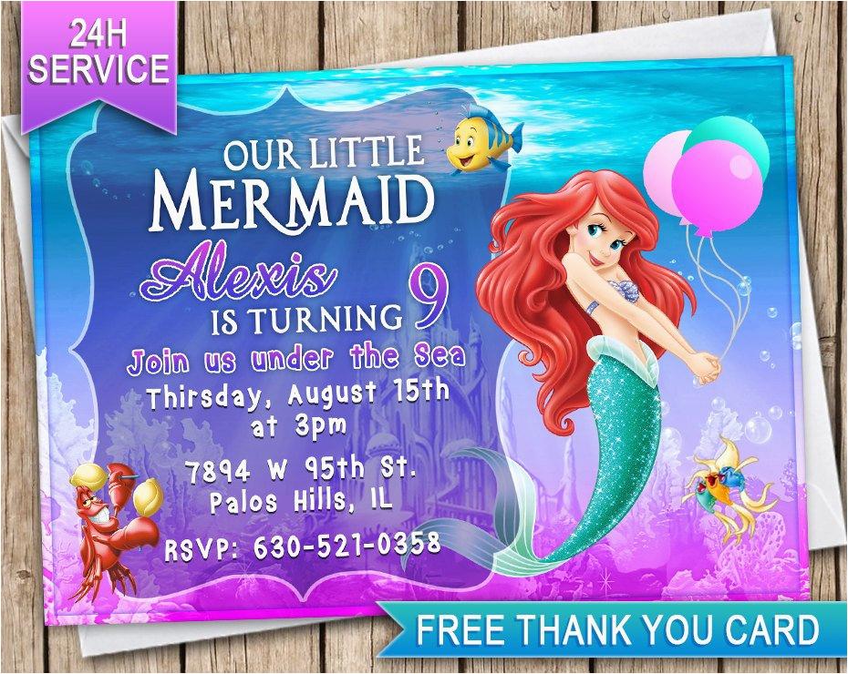 The Little Mermaid Invitations For Birthday Ariel Invitation Card Invite