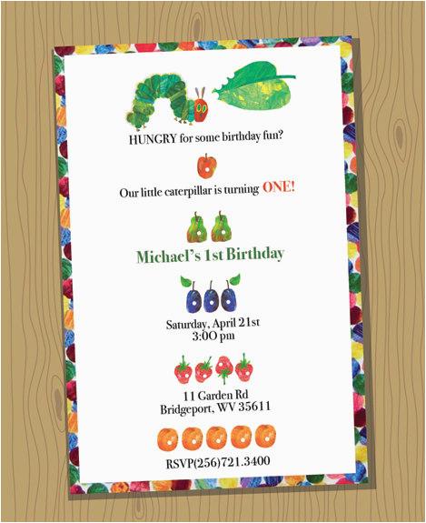 very hungry caterpillar birthday invitations