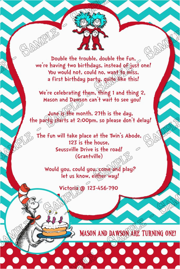 Cat In The Hat Thing 1 And 2 Twins 1st Birthday Party Invitation Printable