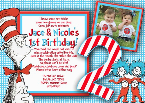 Thing 1 And 2 Birthday Invitations Party